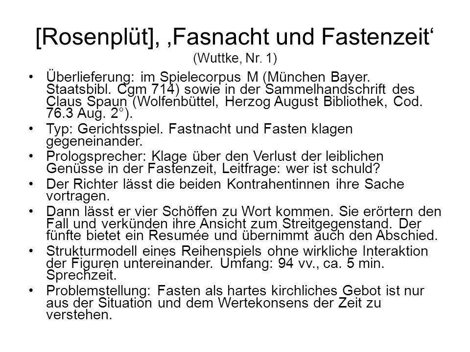 [Rosenplüt], 'Fasnacht und Fastenzeit' (Wuttke, Nr. 1)